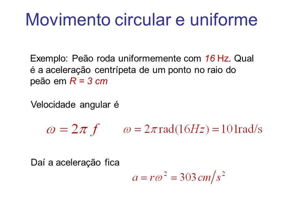 Movimento circular e uniforme Exemplo: Peão roda uniformemente com 16 Hz. Qual é a aceleração centrípeta de um ponto no raio do peão em R = 3 cm Veloc