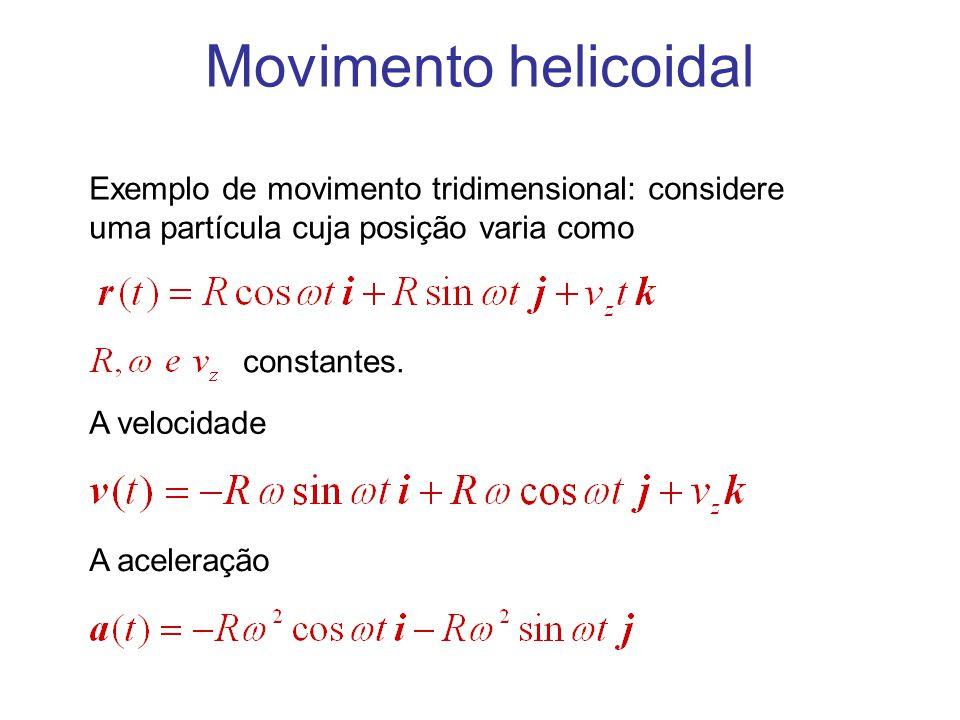 Movimento helicoidal Exemplo de movimento tridimensional: considere uma partícula cuja posição varia como constantes. A aceleração A velocidade