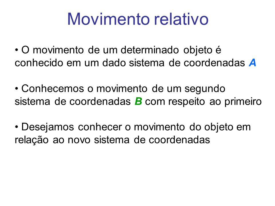 Movimento relativo • O movimento de um determinado objeto é conhecido em um dado sistema de coordenadas A • Conhecemos o movimento de um segundo siste