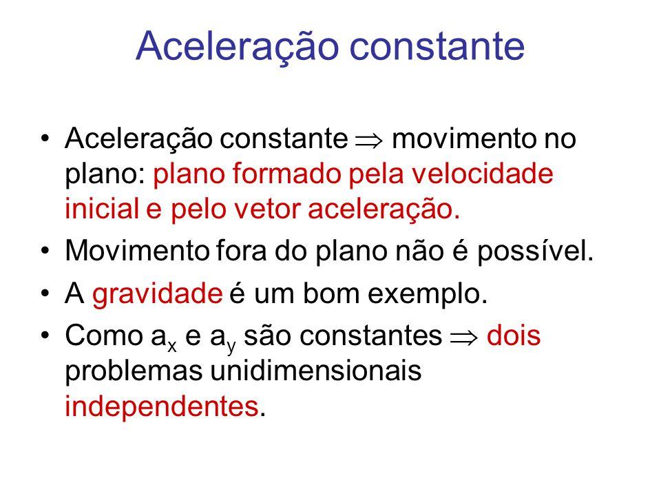 Aceleração constante •Aceleração constante  movimento no plano: plano formado pela velocidade inicial e pelo vetor aceleração. •Movimento fora do pla