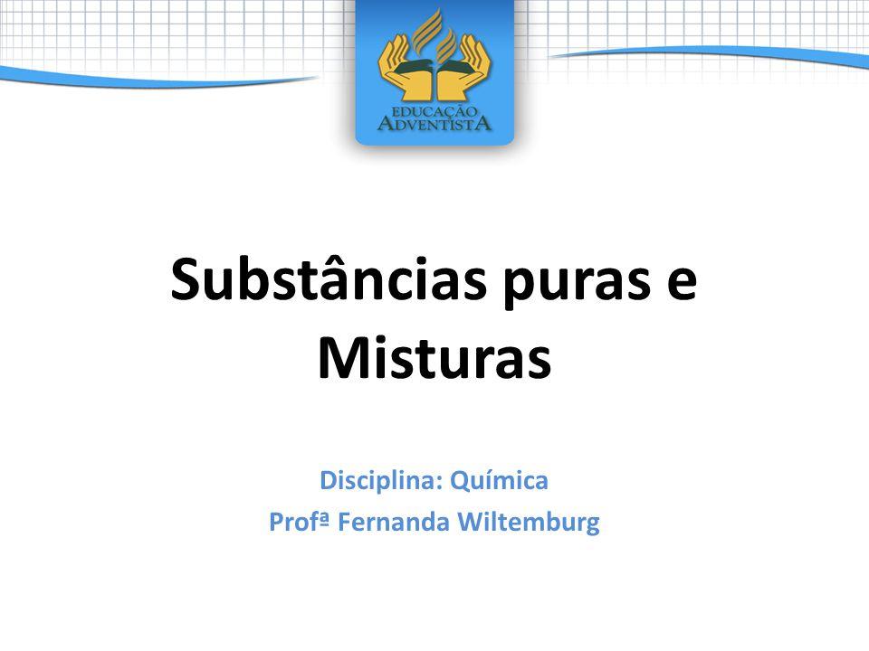 Substâncias puras e Misturas Disciplina: Química Profª Fernanda Wiltemburg