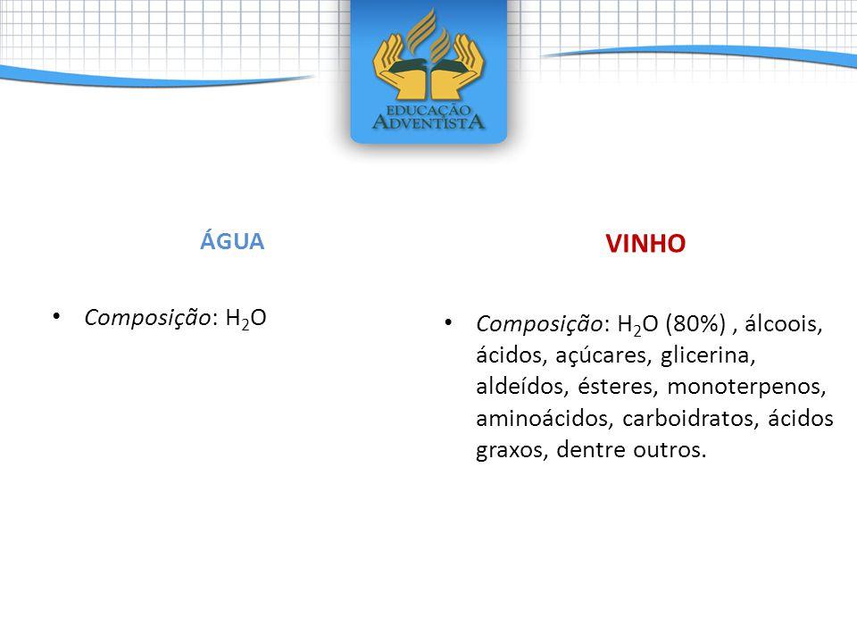 ÁGUA • Composição: H 2 O VINHO • Composição: H 2 O (80%), álcoois, ácidos, açúcares, glicerina, aldeídos, ésteres, monoterpenos, aminoácidos, carboidr