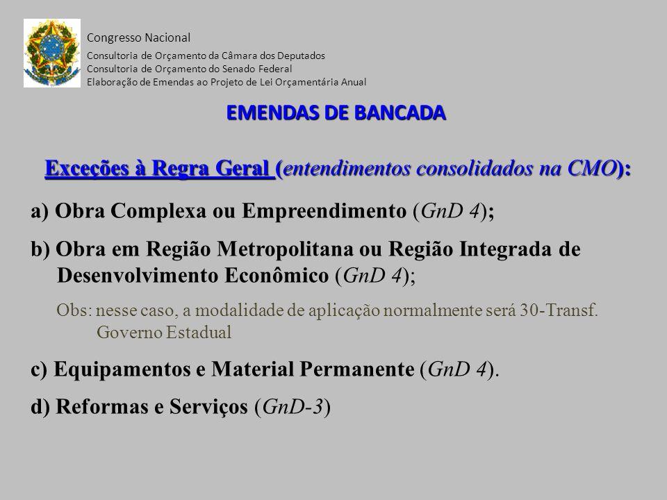Congresso Nacional Consultoria de Orçamento da Câmara dos Deputados Consultoria de Orçamento do Senado Federal Elaboração de Emendas ao Projeto de Lei Orçamentária Anual CONDIÇÕES EXIGIDAS DAS EMENDAS DE BANCADA ESTADUAL - NA RESOLUÇÃO nº 1, DE 2006-CN, CONFORME O OBJETO DA AÇÃO - AçãoCondições CumulativasDispositivo Qualquer Ação (Projeto/Atividade/ Operação Especial) 1.