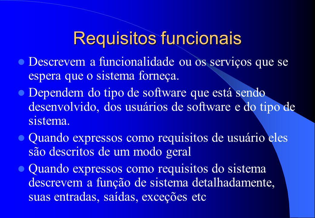 Requisitos Funcionais e Não-Funcionais  Os requisitos de sistema de software podem ser vistos como: – Requisitos Funcionais  São declarações de funç