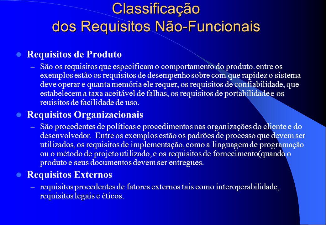 Requisitos Não-Funcionais  São aqueles que não dizem respeito, diretamente às funções específicas fornecidas pelo sistema. Eles estão relacionados a