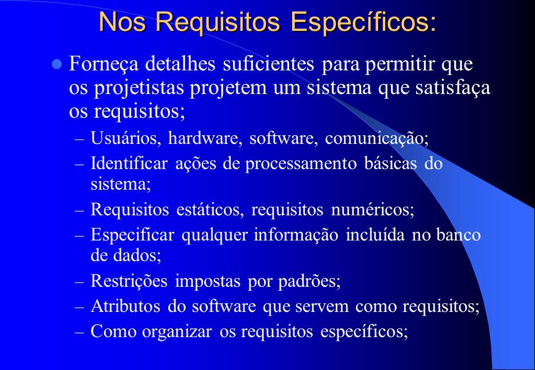  Requisitos Específicos: – Requisitos de interface; – Requisitos funcionais; – Requisitos de desempenho; – Requisitos do banco de dados lógico; – Res
