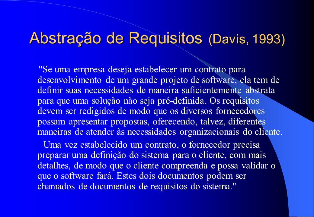 Abstração de Requisitos (Davis, 1993) Se uma empresa deseja estabelecer um contrato para desenvolvimento de um grande projeto de software, ela tem de definir suas necessidades de maneira suficientemente abstrata para que uma solução não seja pré-definida.