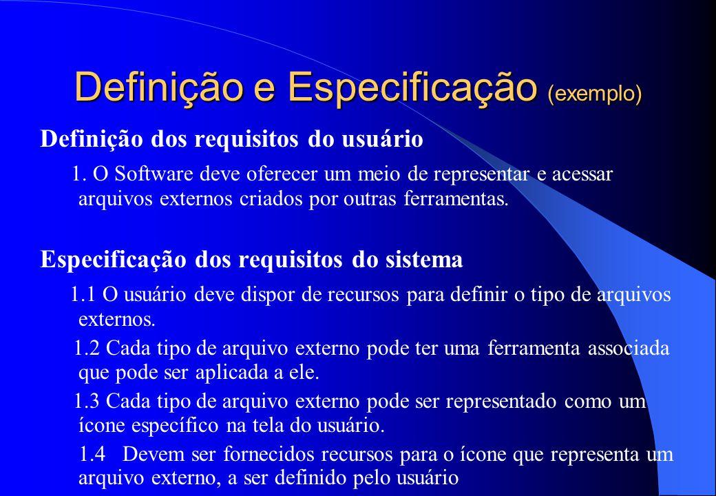 Definição e Especificação (exemplo) Definição dos requisitos do usuário 1.