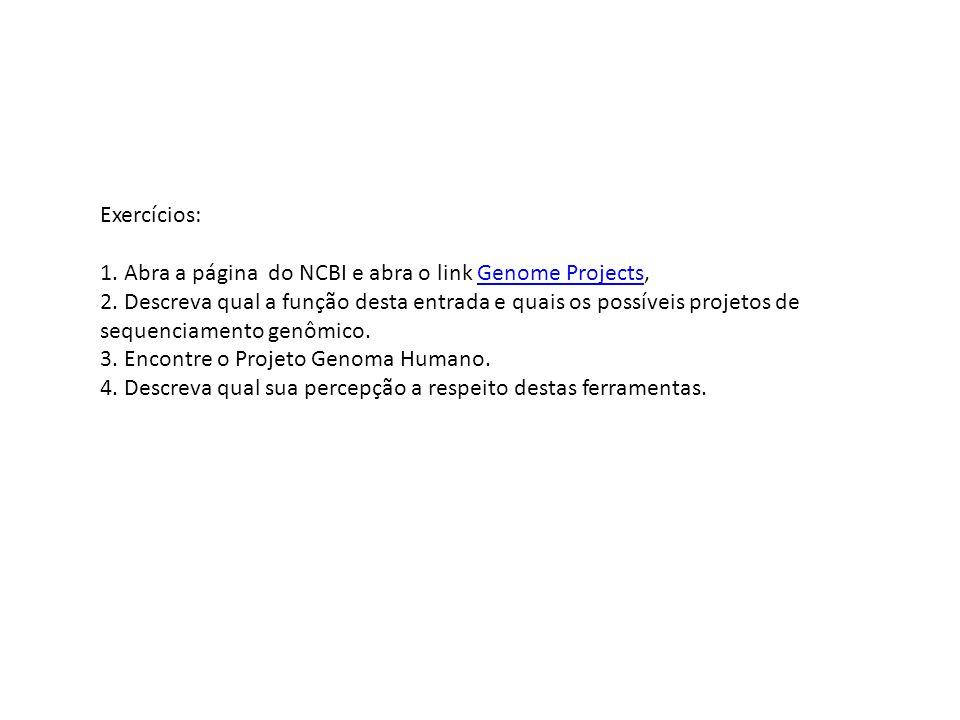 Exercícios: 1. Abra a página do NCBI e abra o link Genome Projects,Genome Projects 2. Descreva qual a função desta entrada e quais os possíveis projet
