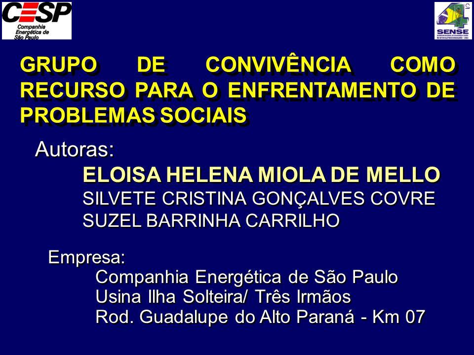 GRUPO DE CONVIVÊNCIA COMO RECURSO PARA O ENFRENTAMENTO DE PROBLEMAS SOCIAIS Autoras: ELOISA HELENA MIOLA DE MELLO SILVETE CRISTINA GONÇALVES COVRE SUZ