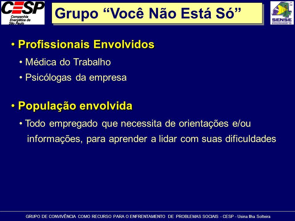 """Grupo """"Você Não Está Só"""" • Profissionais Envolvidos GRUPO DE CONVIVÊNCIA COMO RECURSO PARA O ENFRENTAMENTO DE PROBLEMAS SOCIAIS - CESP - Usina Ilha So"""