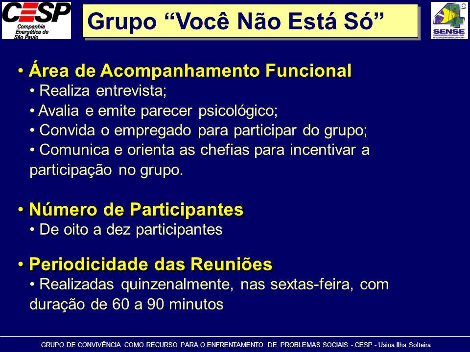 """Grupo """"Você Não Está Só"""" • Área de Acompanhamento Funcional GRUPO DE CONVIVÊNCIA COMO RECURSO PARA O ENFRENTAMENTO DE PROBLEMAS SOCIAIS - CESP - Usina"""