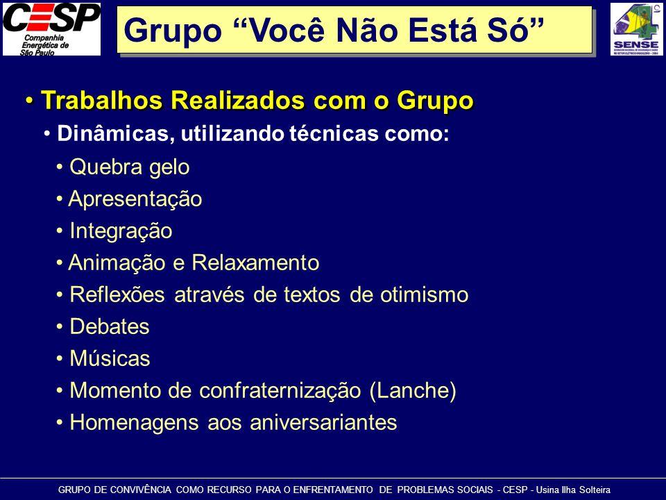 """Grupo """"Você Não Está Só"""" • Trabalhos Realizados com o Grupo GRUPO DE CONVIVÊNCIA COMO RECURSO PARA O ENFRENTAMENTO DE PROBLEMAS SOCIAIS - CESP - Usina"""