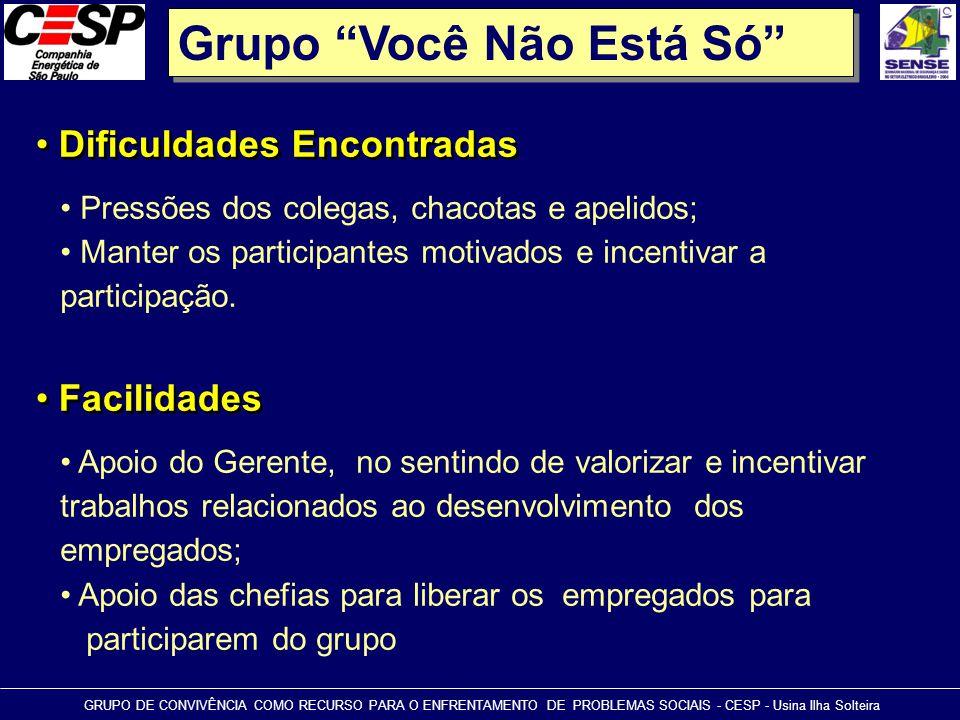 """Grupo """"Você Não Está Só"""" • Dificuldades Encontradas GRUPO DE CONVIVÊNCIA COMO RECURSO PARA O ENFRENTAMENTO DE PROBLEMAS SOCIAIS - CESP - Usina Ilha So"""