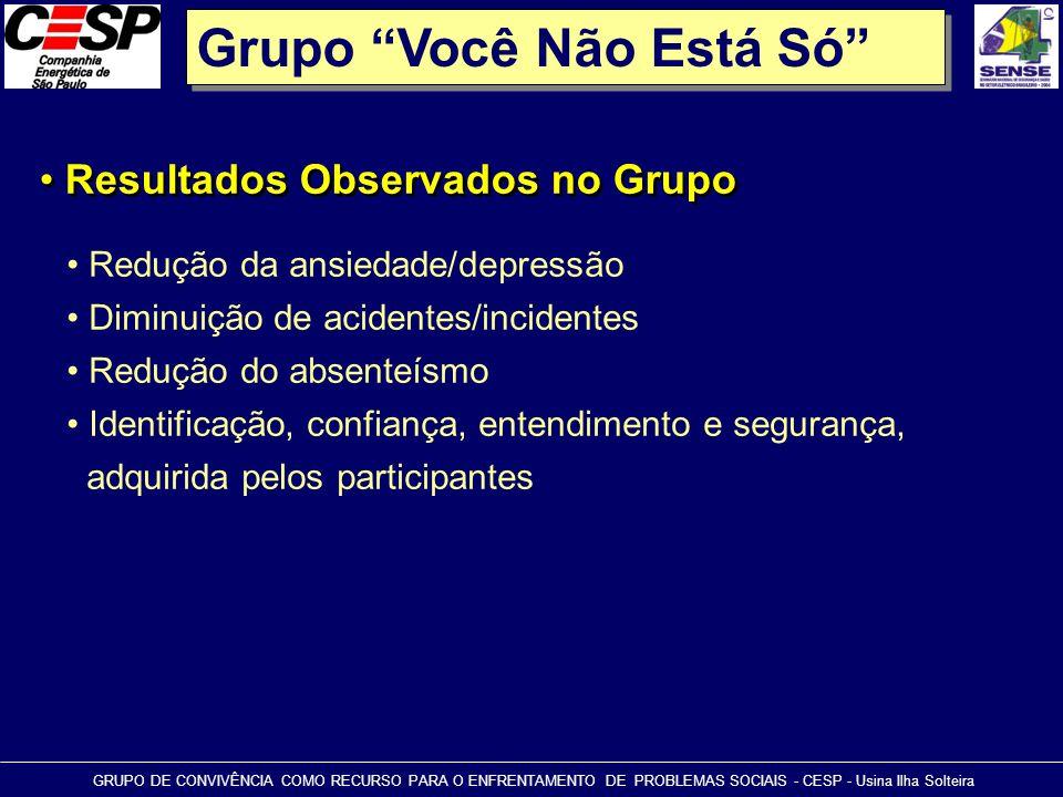 """Grupo """"Você Não Está Só"""" • Resultados Observados no Grupo GRUPO DE CONVIVÊNCIA COMO RECURSO PARA O ENFRENTAMENTO DE PROBLEMAS SOCIAIS - CESP - Usina I"""