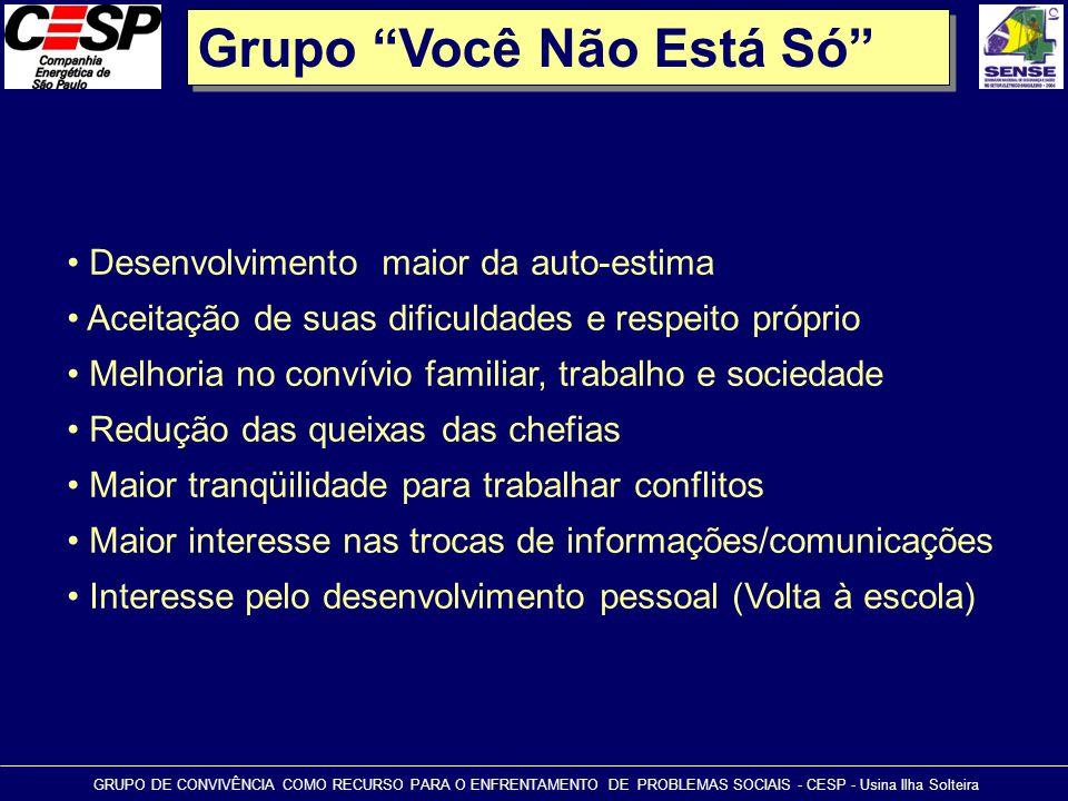 """Grupo """"Você Não Está Só"""" GRUPO DE CONVIVÊNCIA COMO RECURSO PARA O ENFRENTAMENTO DE PROBLEMAS SOCIAIS - CESP - Usina Ilha Solteira • Desenvolvimento ma"""