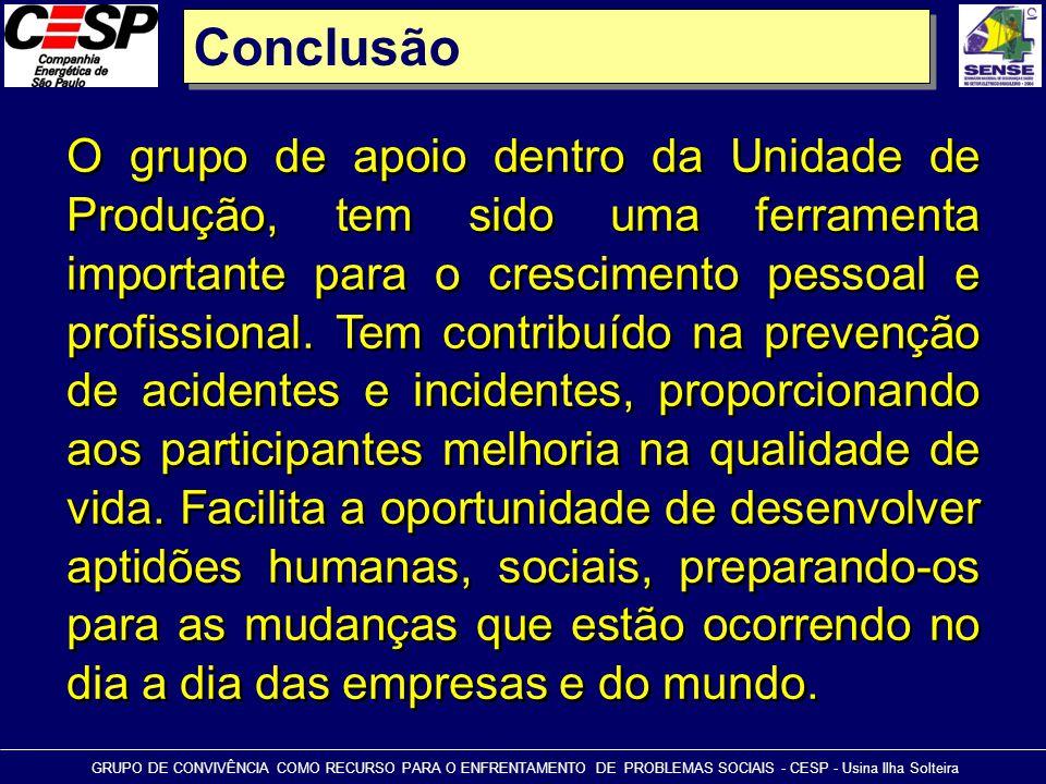 Conclusão GRUPO DE CONVIVÊNCIA COMO RECURSO PARA O ENFRENTAMENTO DE PROBLEMAS SOCIAIS - CESP - Usina Ilha Solteira O grupo de apoio dentro da Unidade