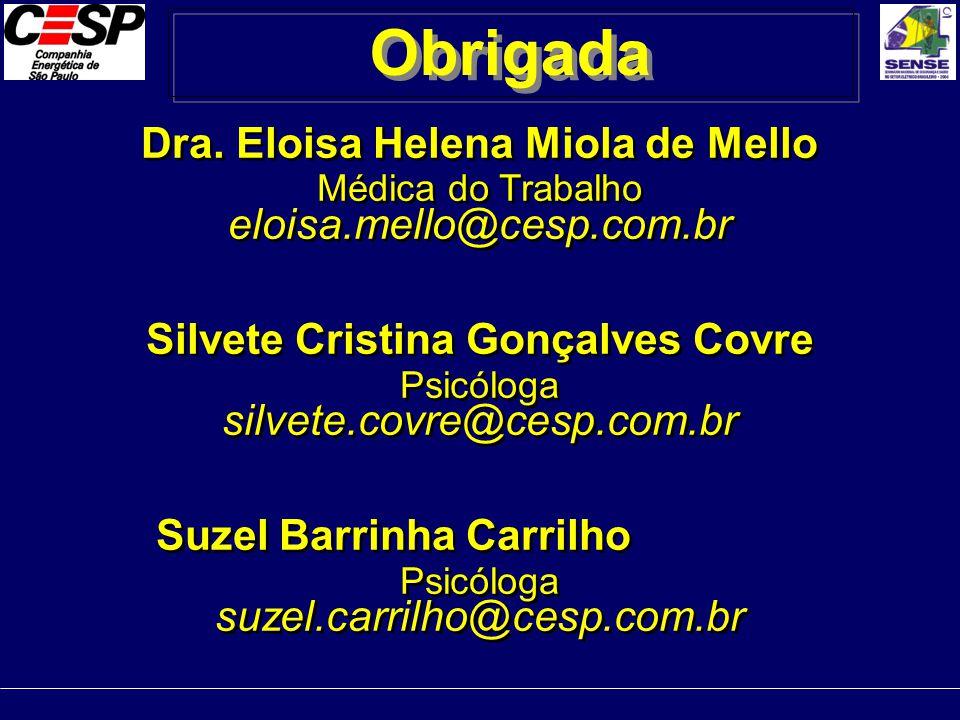 Dra. Eloisa Helena Miola de Mello Médica do Trabalho eloisa.mello@cesp.com.br Silvete Cristina Gonçalves Covre Psicóloga silvete.covre@cesp.com.br Suz