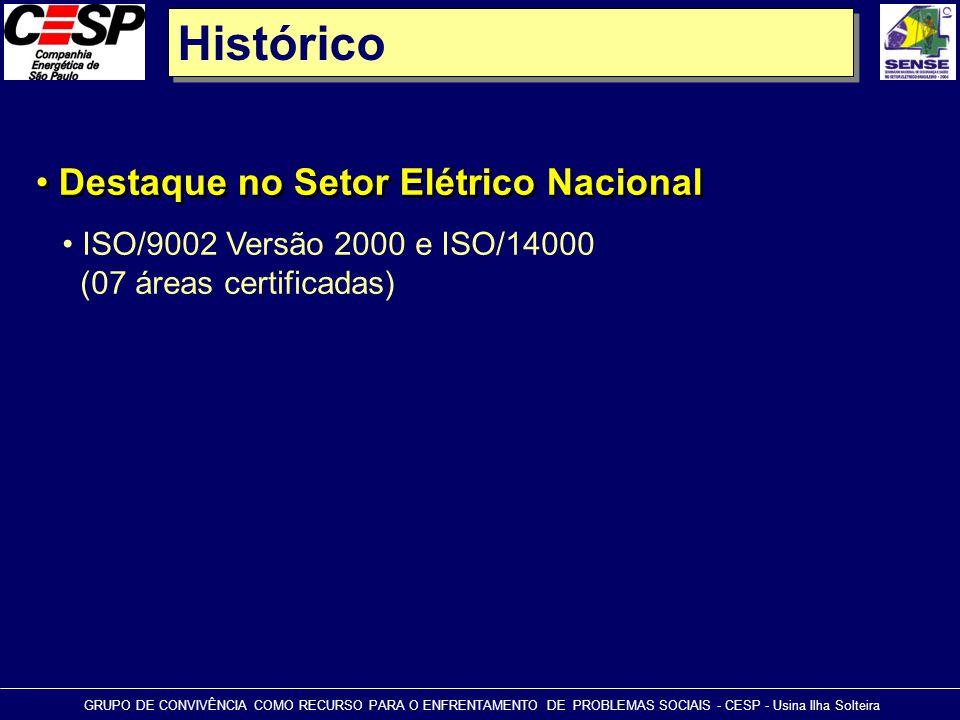 Histórico • Destaque no Setor Elétrico Nacional GRUPO DE CONVIVÊNCIA COMO RECURSO PARA O ENFRENTAMENTO DE PROBLEMAS SOCIAIS - CESP - Usina Ilha Soltei