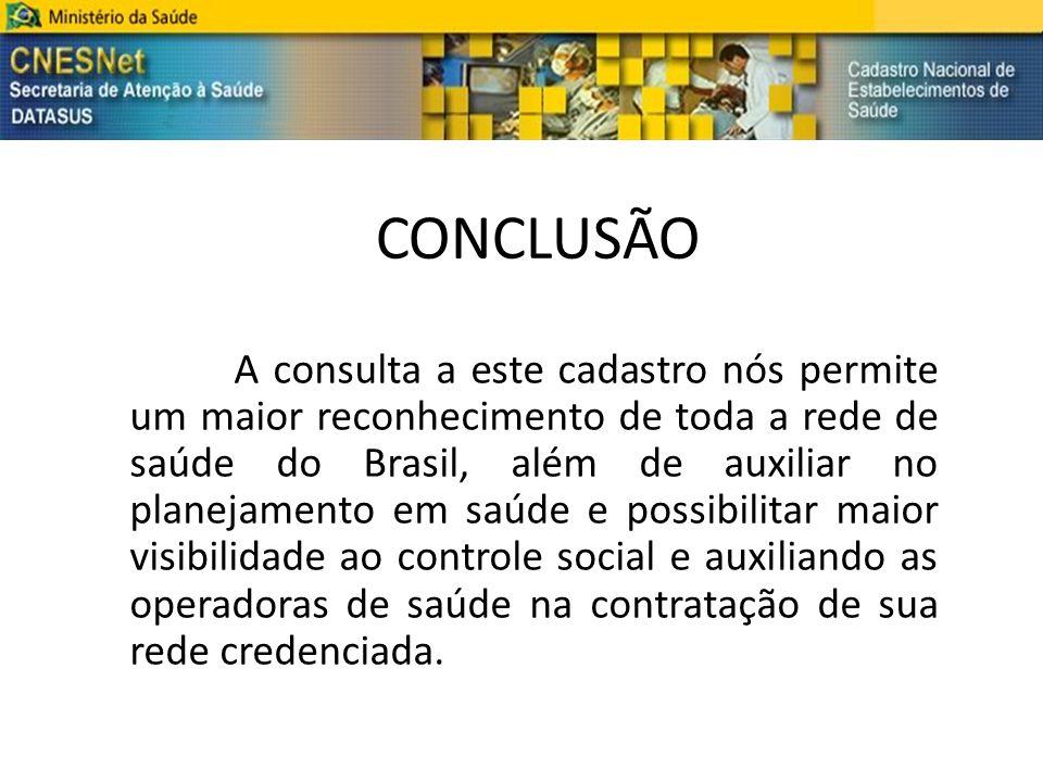 CONCLUSÃO A consulta a este cadastro nós permite um maior reconhecimento de toda a rede de saúde do Brasil, além de auxiliar no planejamento em saúde