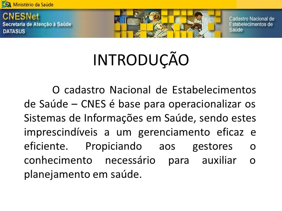 INTRODUÇÃO O cadastro Nacional de Estabelecimentos de Saúde – CNES é base para operacionalizar os Sistemas de Informações em Saúde, sendo estes impres