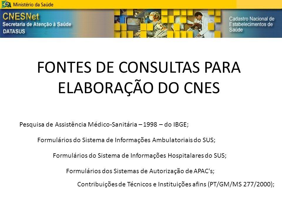 FONTES DE CONSULTAS PARA ELABORAÇÃO DO CNES Pesquisa de Assistência Médico-Sanitária – 1998 – do IBGE; Formulários do Sistema de Informações Ambulator