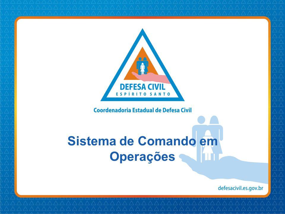 Objetivos •Introduzir o estudo do Sistema de Comando em Operações; •Descrever seu conceito e origens; •Exemplificar situações para o uso do SCO; •Apresentar os princípios do SCO.