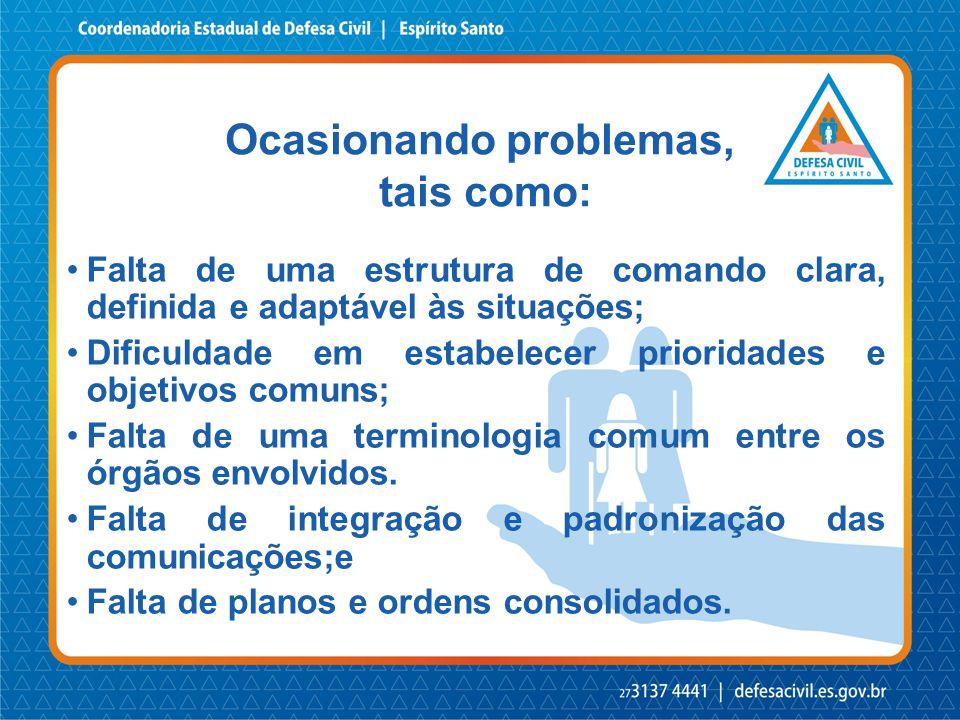Ocasionando problemas, tais como: •Falta de uma estrutura de comando clara, definida e adaptável às situações; •Dificuldade em estabelecer prioridades