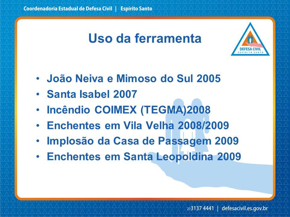 Uso da ferramenta •João Neiva e Mimoso do Sul 2005 •Santa Isabel 2007 •Incêndio COIMEX (TEGMA)2008 •Enchentes em Vila Velha 2008/2009 •Implosão da Cas