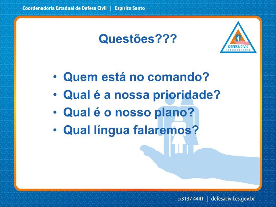 •Quem está no comando? •Qual é a nossa prioridade? •Qual é o nosso plano? •Qual língua falaremos? Questões???