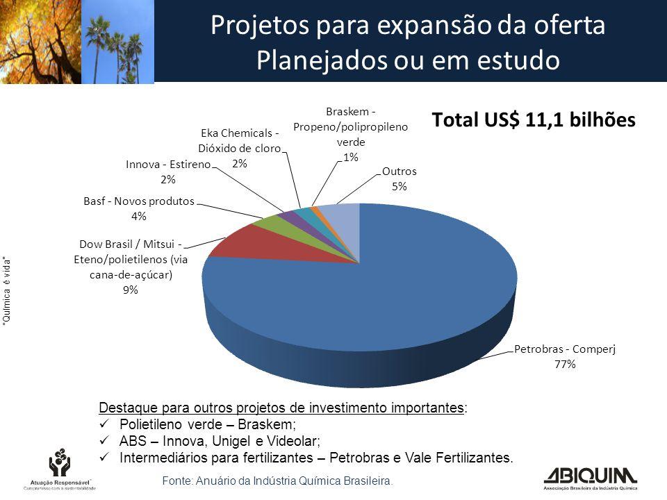 Química é vida Projetos para expansão da oferta Planejados ou em estudo Destaque para outros projetos de investimento importantes:  Polietileno verde – Braskem;  ABS – Innova, Unigel e Videolar;  Intermediários para fertilizantes – Petrobras e Vale Fertilizantes.