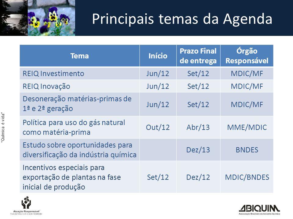 Química é vida Principais temas da Agenda TemaInício Prazo Final de entrega Órgão Responsável REIQ Investimento Jun/12Set/12MDIC/MF REIQ Inovação Jun/12Set/12MDIC/MF Desoneração matérias-primas de 1ª e 2ª geração Jun/12Set/12MDIC/MF Política para uso do gás natural como matéria-prima Out/12Abr/13MME/MDIC Estudo sobre oportunidades para diversificação da indústria química Dez/13BNDES Incentivos especiais para exportação de plantas na fase inicial de produção Set/12Dez/12MDIC/BNDES