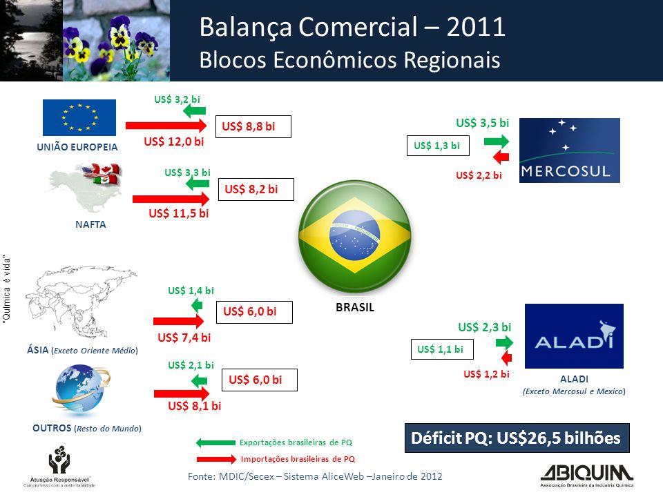 Química é vida Déficit PQ: US$26,5 bilhões ÁSIA (Exceto Oriente Médio) UNIÃO EUROPEIA OUTROS (Resto do Mundo) US$ 3,2 bi US$ 12,0 bi US$ 8,8 bi US$ 1,3 bi ALADI (Exceto Mercosul e Mexico) US$ 3,5 bi US$ 2,2 bi US$ 1,1 bi US$ 2,3 bi US$ 1,2 bi US$ 6,0 bi US$ 3,3 bi US$ 8,2 bi US$ 6,0 bi BRASIL US$ 11,5 bi US$ 1,4 bi US$ 7,4 bi US$ 2,1 bi US$ 8,1 bi NAFTA Exportações brasileiras de PQ Importações brasileiras de PQ Balança Comercial – 2011 Blocos Econômicos Regionais Fonte: MDIC/Secex – Sistema AliceWeb –Janeiro de 2012
