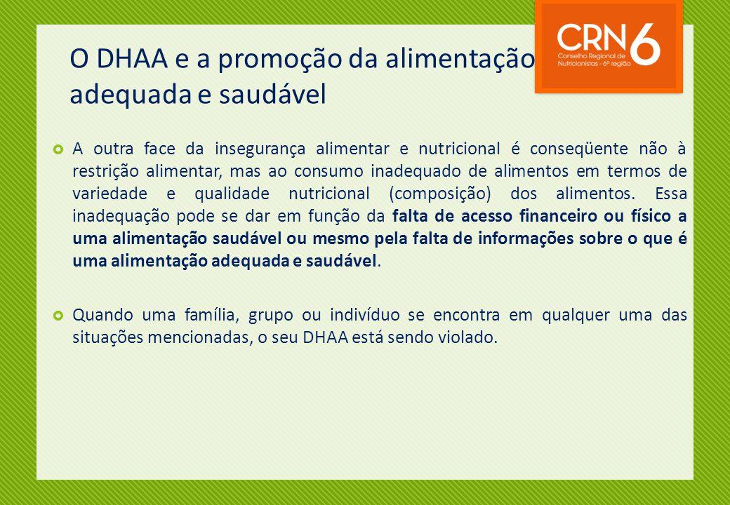 O DHAA e a promoção da alimentação adequada e saudável  A outra face da insegurança alimentar e nutricional é conseqüente não à restrição alimentar,