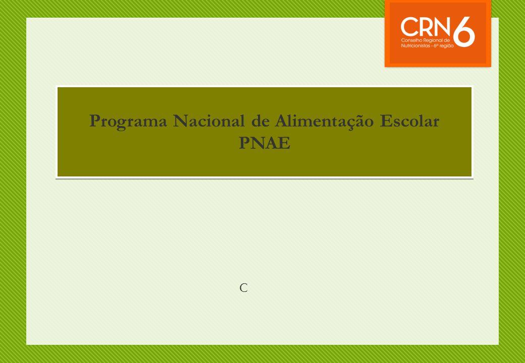 Programa Nacional de Alimentação Escolar PNAE Programa Nacional de Alimentação Escolar PNAE C
