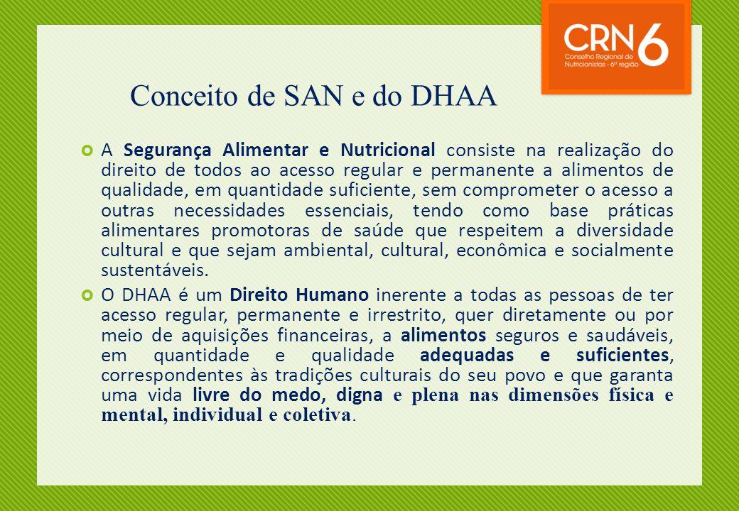 Conceito de SAN e do DHAA  A Segurança Alimentar e Nutricional consiste na realização do direito de todos ao acesso regular e permanente a alimentos