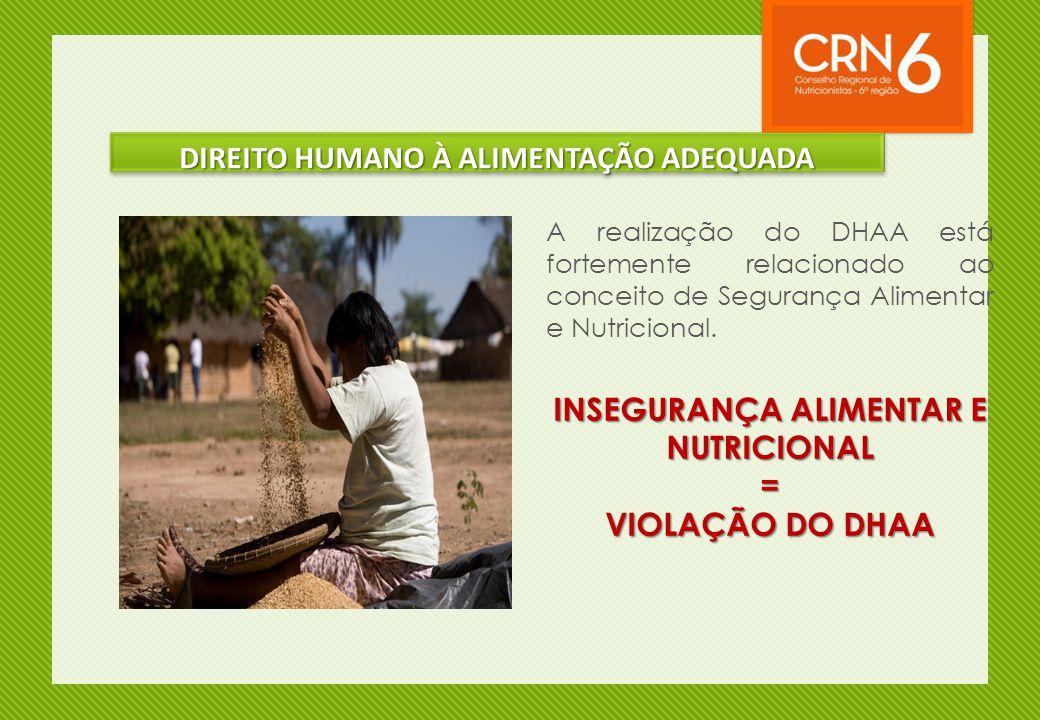 A realização do DHAA está fortemente relacionado ao conceito de Segurança Alimentar e Nutricional. INSEGURANÇA ALIMENTAR E NUTRICIONAL = VIOLAÇÃO DO D