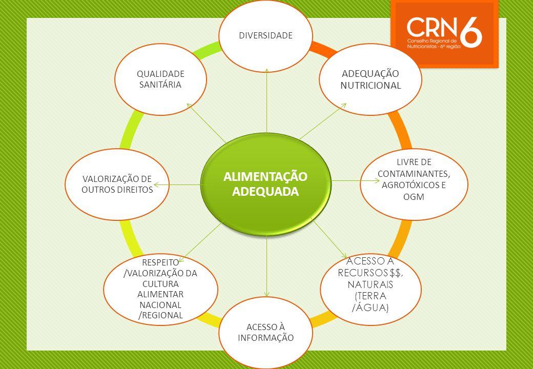 ALIMENTAÇÃO ADEQUADA DIVERSIDADE ADEQUAÇÃO NUTRICIONAL LIVRE DE CONTAMINANTES, AGROTÓXICOS E OGM ACESSO A RECURSOS $$, NATURAIS (TERRA /ÁGUA) ACESSO À