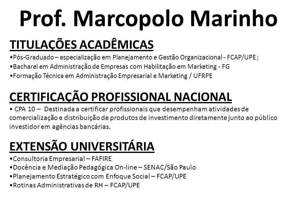 Prof. Marcopolo Marinho TITULAÇÕES ACADÊMICAS •Pós-Graduado – especialização em Planejamento e Gestão Organizacional - FCAP/UPE ; •Bacharel em Adminis