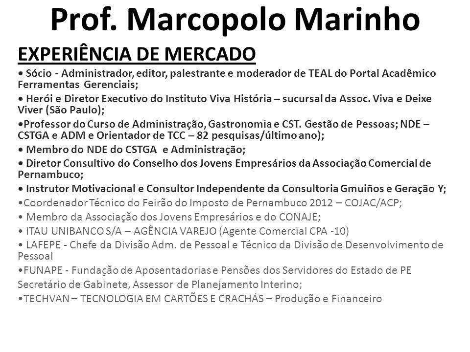 Prof. Marcopolo Marinho EXPERIÊNCIA DE MERCADO • Sócio - Administrador, editor, palestrante e moderador de TEAL do Portal Acadêmico Ferramentas Gerenc