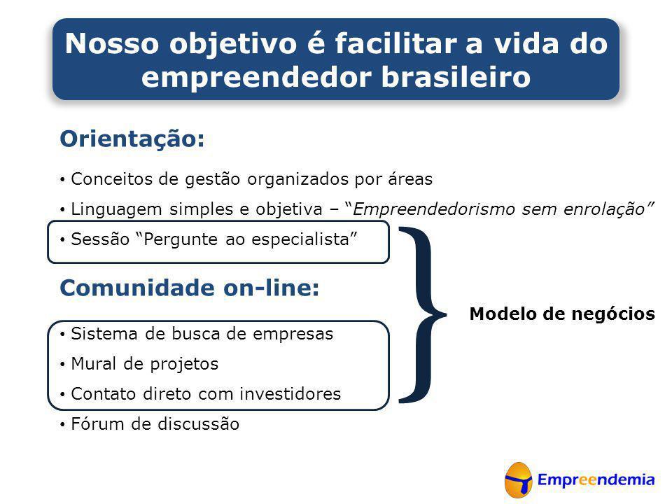"""Orientação: • Conceitos de gestão organizados por áreas • Linguagem simples e objetiva – """"Empreendedorismo sem enrolação"""" • Sessão """"Pergunte ao especi"""