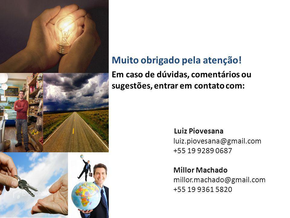 Muito obrigado pela atenção! Em caso de dúvidas, comentários ou sugestões, entrar em contato com: Luiz Piovesana luiz.piovesana@gmail.com +55 19 9289