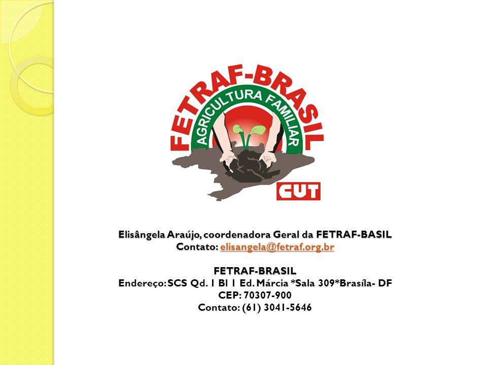 Elisângela Araújo, coordenadora Geral da FETRAF-BASIL Contato: elisangela@fetraf.org.br FETRAF-BRASIL Elisângela Araújo, coordenadora Geral da FETRAF-