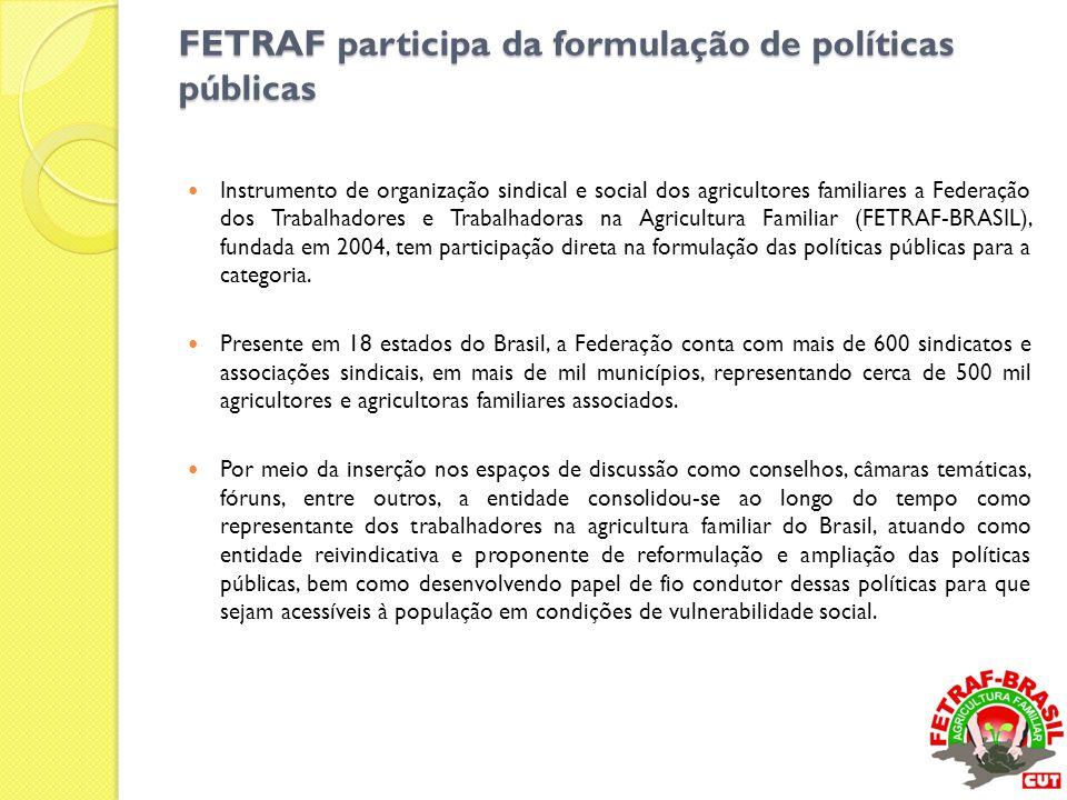 FETRAF participa da formulação de políticas públicas  Instrumento de organização sindical e social dos agricultores familiares a Federação dos Trabal