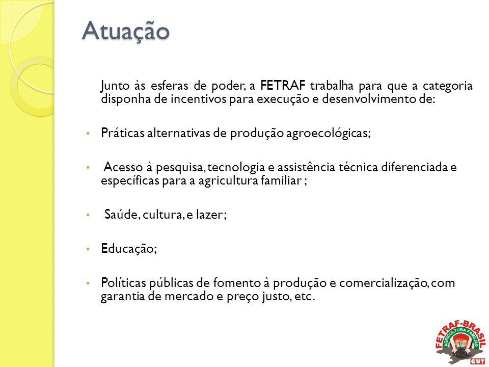 Atuação Junto às esferas de poder, a FETRAF trabalha para que a categoria disponha de incentivos para execução e desenvolvimento de: • Práticas altern