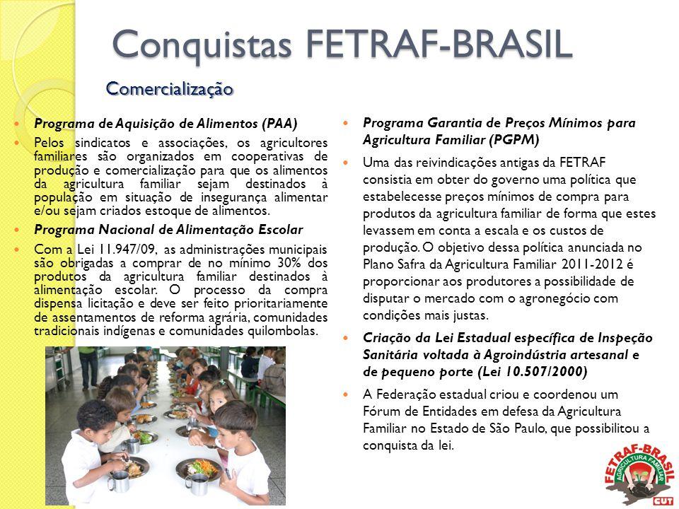 Conquistas FETRAF-BRASIL  Programa de Aquisição de Alimentos (PAA)  Pelos sindicatos e associações, os agricultores familiares são organizados em co