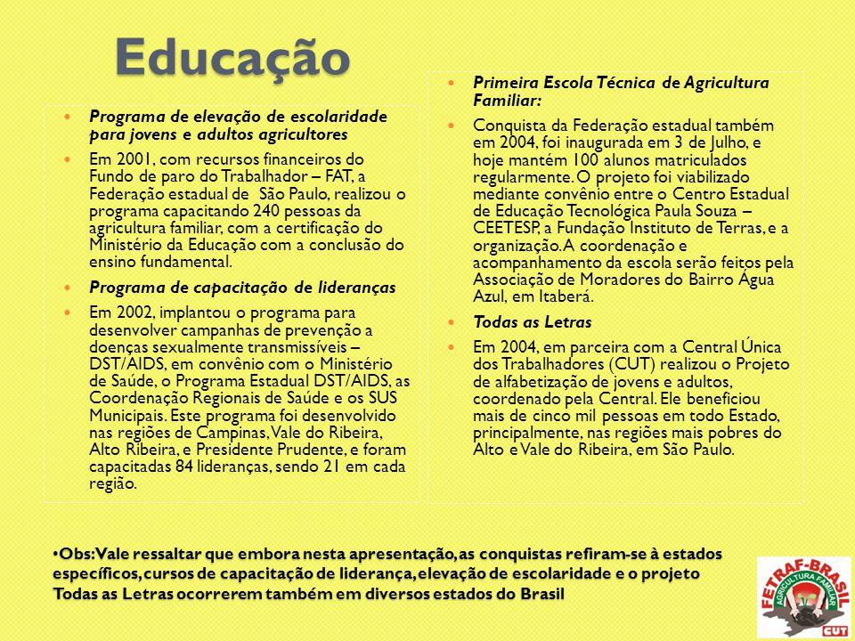  PRONERA  A partir de 2007, articulou alguns movimentos sociais do campo e conquistou junto ao INCRA, a implantação do Programa Nacional de Educação na Reforma Agrária (PRONERA).