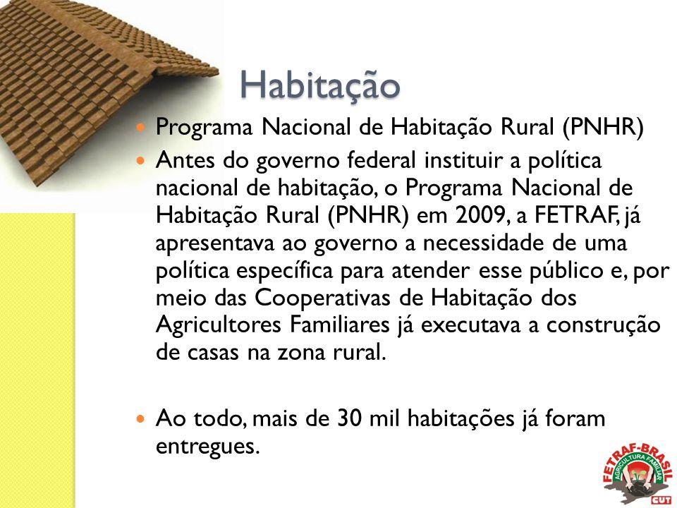 Habitação  Programa Nacional de Habitação Rural (PNHR)  Antes do governo federal instituir a política nacional de habitação, o Programa Nacional de