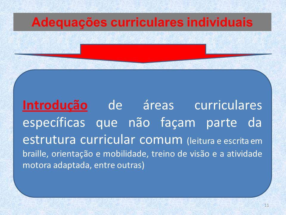 Introdução de áreas curriculares específicas que não façam parte da estrutura curricular comum (leitura e escrita em braille, orientação e mobilidade, treino de visão e a atividade motora adaptada, entre outras) Adequações curriculares individuais 11
