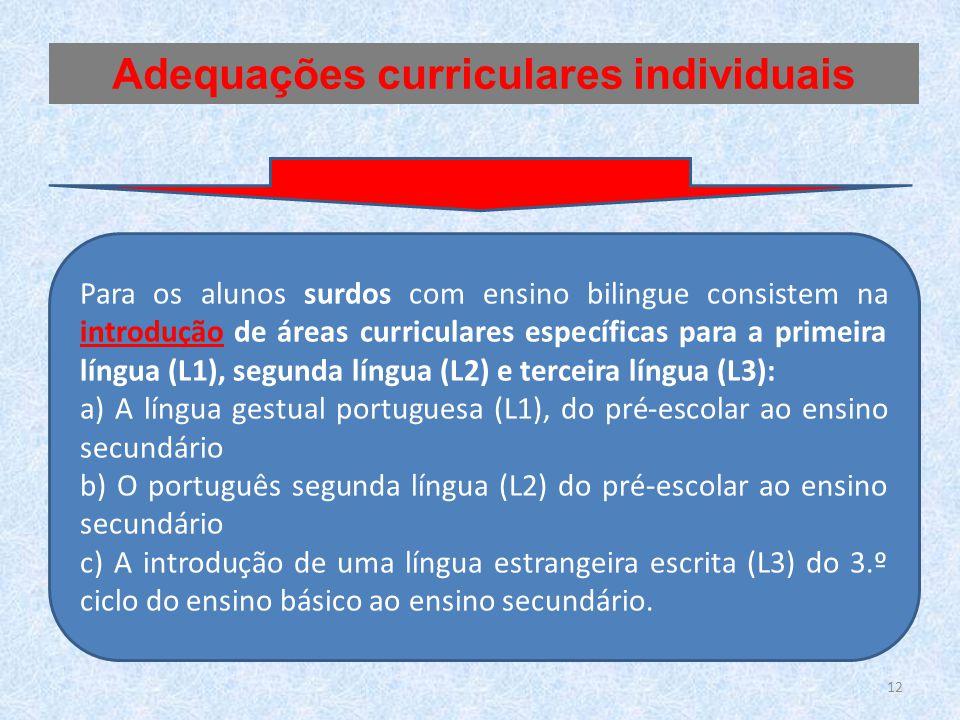 Para os alunos surdos com ensino bilingue consistem na introdução de áreas curriculares específicas para a primeira língua (L1), segunda língua (L2) e
